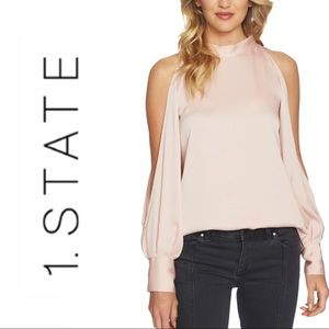 NWT 1. State Blush Pink Cold Shoulder Blouse Small